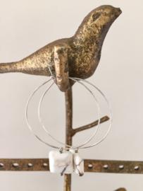 Silver plated grote oorringen met vierkante edelsteen