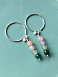 NIEUW - EXCLUSIEF - Echt zilveren oorringen met edelstenen in diverse kleuren
