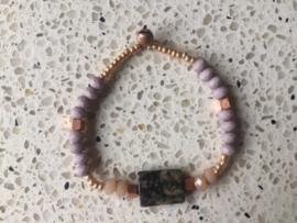 SALE - Armband in grijs-/taupe-/rosétinten met gemarmerde edelsteen