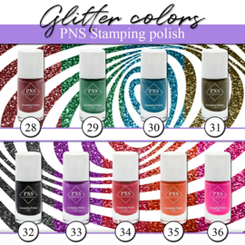 PNS Stamping Polish Glitter Collection 9 stuks 28 tm 36