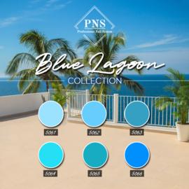 PNSgelpolish Blue Lagoon 5061 t/m 5066 + Gratis Holo GlitterFlakes