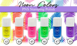 PNS Stamping Polish Neon Collection 6 stuks nr 43 tm 48