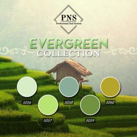 PNSgelpolish Evergreen Collection 5056 tm 5060 + gratis holografische glitter