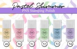 PNS Stamping Polish Pastel Shimmer Collection 6 stuks nr 49 tm 54