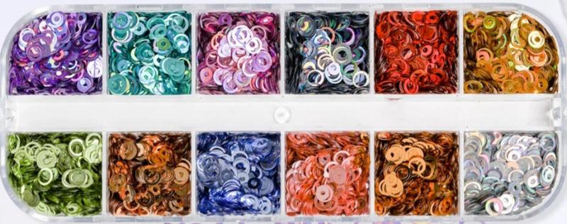 PNS Ronde Pailletten Set van 12 kleuren