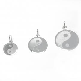 Zilveren bedel Yin Yang  glanzend