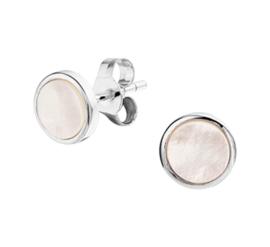 Zilveren oorknoppen rondje wit parelmoer