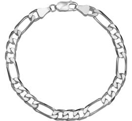 Zilveren armband figaro 6 mm x 20 - 22 cm