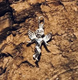 Zilveren bedel engel