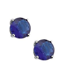 Zilveren oorknoppen zirkonia blauw rond 4 mm