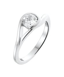 Zilveren ring zirkonia maat 15 - 19