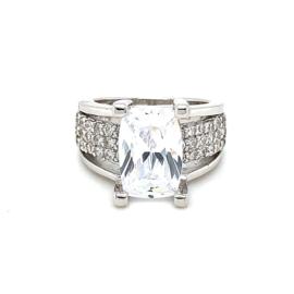 Zilveren ring zirkonia grote steen rechthoek mt 16