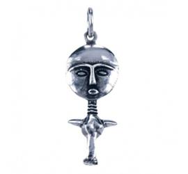Zilveren bedel Asjanti vruchtbaarheidssymbool