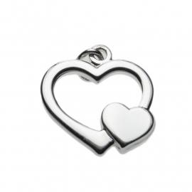 Zilver hartje bedel open 17,5 x 16,5 mm