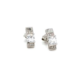 Zilveren oorknoppen stijlvol zirkonia 14 mm