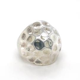Zilveren ring vrije vorm mt 16,5 - 17,5 x 23 mm