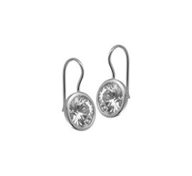 Zilveren oorhangers met franse haak en zirkonia