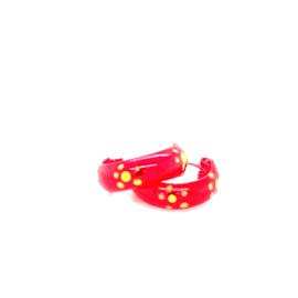 Zilveren oorringen rood 11 mm