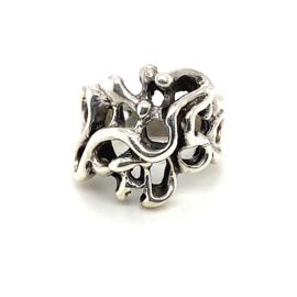 Zilveren ring fantasie geoxideerd mt 16 - 19 x 19 mm