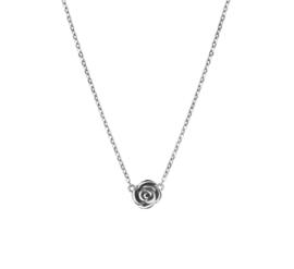 Zilveren ketting dames met roosje 41 - 45 cm