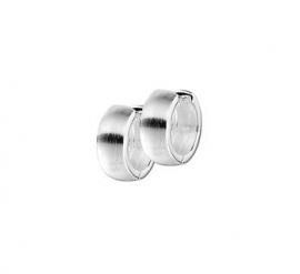 Zilveren klapcreolen bolle buis 6 mm mat  en glimmend