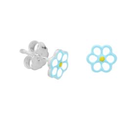 Zilveren oorknoppen blauwe bloem