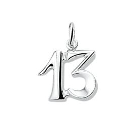 Zilveren bedel nummer 13