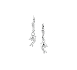 Zilveren kinderoorbellen dolfijn hangers