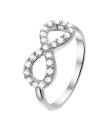 Zilveren ring  infinity zirkonia 8 mm maat 15 - 19