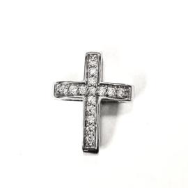 Zilveren bedel kruis zirkonia 12,5 x 15,5 mm