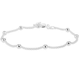 Zilver armband met bolletjes 18  + 3 cm x 3 mm