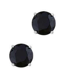 Zilveren oorknoppen zirkonia zwart rond