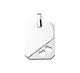 Zilveren graveerplaatje glad met hartjes 14 x 18 mm