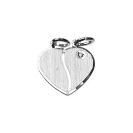 Zilver breekhartje met zirkonia 18 mm