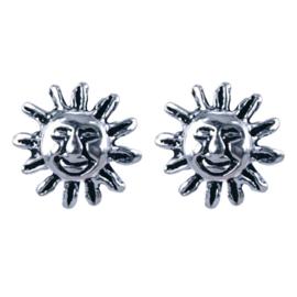 Zilveren oorknoppen zon 7 mm