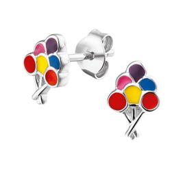 Zilveren oorsteker ballonnetjes gekleurd