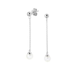 Zilveren oorhangers kettinkjes met parels