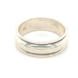 Zilveren ring geoxideerd draaibaar  mt 21 x 8 mm