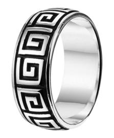 Zilveren ring geoxideerd Grieks mt 19 - 22 x 8 mm