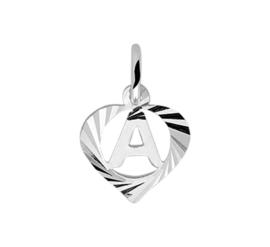 Zilveren bedel hartje met de letter A