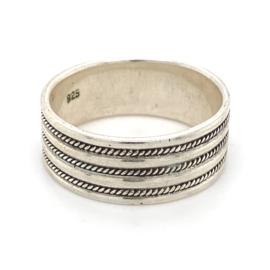 Zilveren ring geoxideerd mt 23 x 10 mm