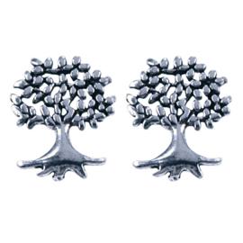 Zilveren oorknoppen levensboom 7,5 x 10 mm