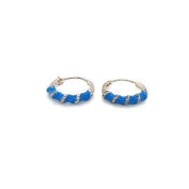 Zilveren creolen blauw 12 mm