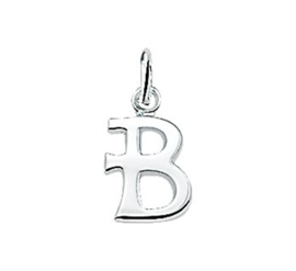 Zilveren bedel letter B