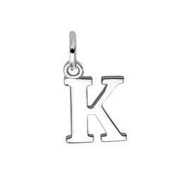 Zilver hanger letter K gerhodineerd