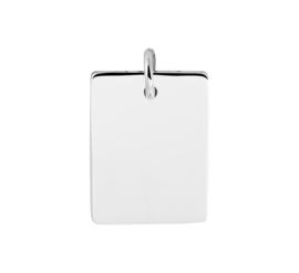 Zilveren graveerplaat rechthoek glad 14 x 18 mm