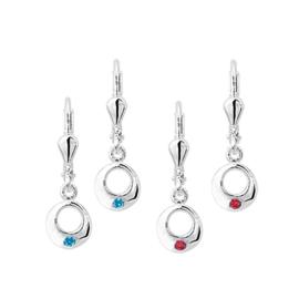 Zilveren kinderoorbellen rondjes met steen blauw/ rood
