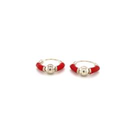 Zilveren creolen rood en bolletje 10 mm