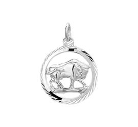 Zilveren bedel met stier sterrenbeeld