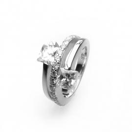 Zilveren ring zirkonia kleine maat 15 - 15,5